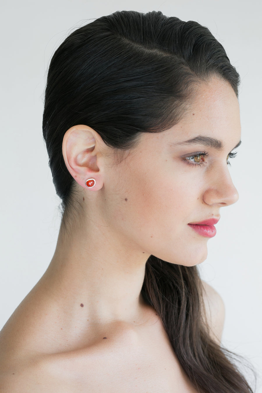 Red Onyx Silver Studs