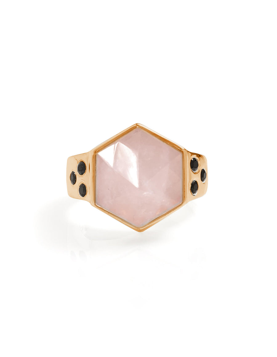 Rose Quartz with Spinel Gold  Ring