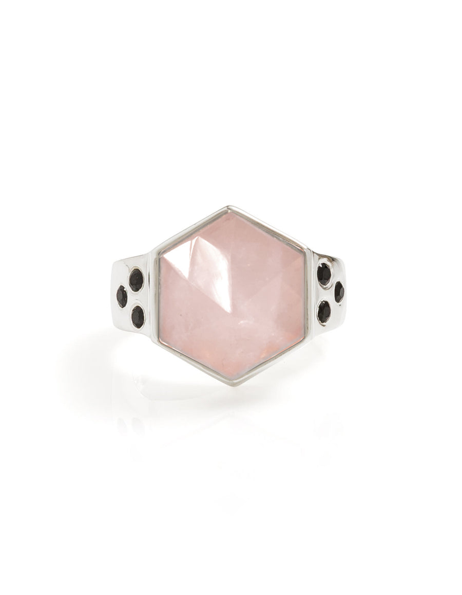 Rose Quartz & Spinel Silver Ring
