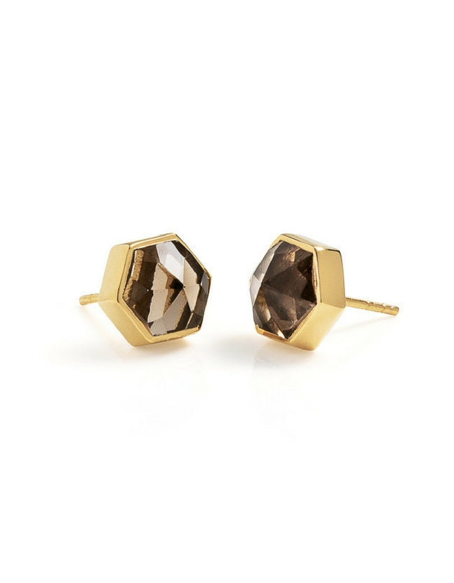smokey quartz earrings, smokey quartz, hexagon ring, gold earrings, gemstone ring, gemstone jewellery, cathy pope jewellery, unique jewellery, nz design