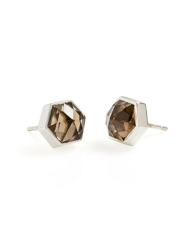 smokey quartz earrings, smokey quartz, hexagon earrings, silver earrings, gemstone earrings, gemstone jewellery, cathy pope jewellery, unique jewellery, nz design