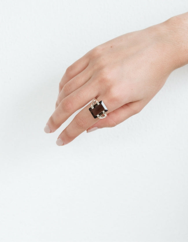 ring, gold ring, smokey quartz, smokey quartz ring, statement ring, silver ring