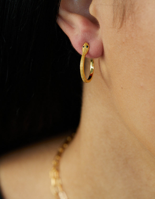 Gold Serpent Hoops