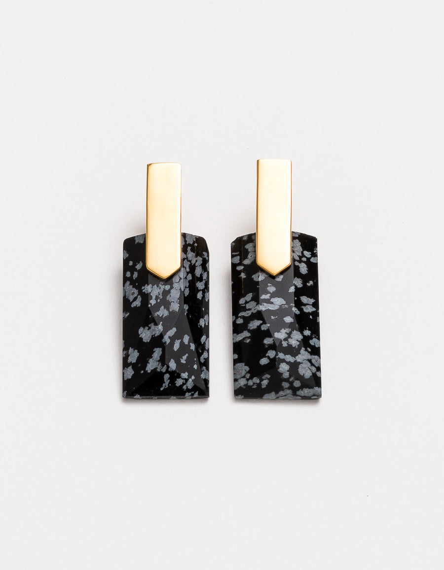 Snowflake Obsidian Gold Long Earrings