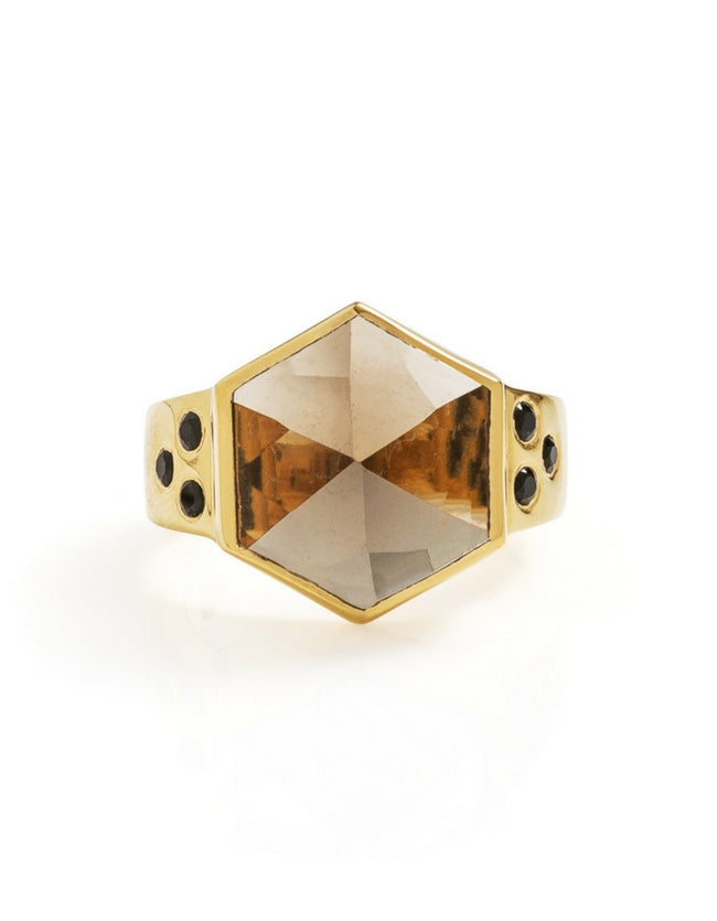 smokey quartz ring, smokey quartz, hexagon ring, gold ring, gemstone ring, gemstone jewellery, cathy pope jewellery, unique jewellery, nz design