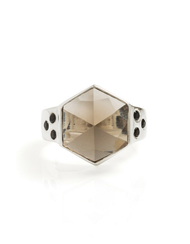 smokey quartz ring, smokey quartz, hexagon ring, silver ring, gemstone ring, gemstone jewellery, cathy pope jewellery, unique jewellery, nz design