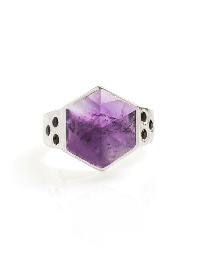 amethyst, silver, silver ring, amethyst ring, cathy pope jewellery