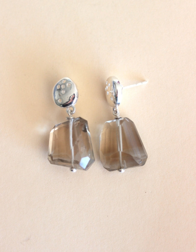 Smokey Quartz Silver Earrings