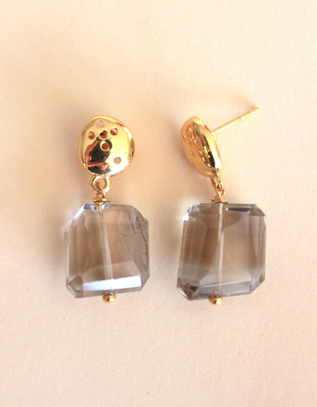 Smokey Quartz Gold Earrings