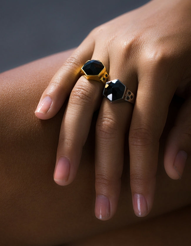 onyx, onyx ring, gold onyx ring, silver ring, jacinda ring, nz design, cathy pope jewellery