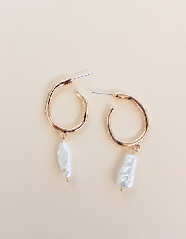 Baroque Gold Pearl Hoops