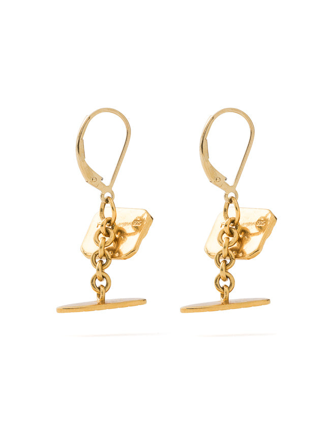 Cufflink Earrings Gold