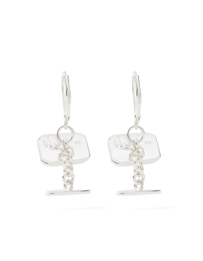 Cufflink Earrings Silver