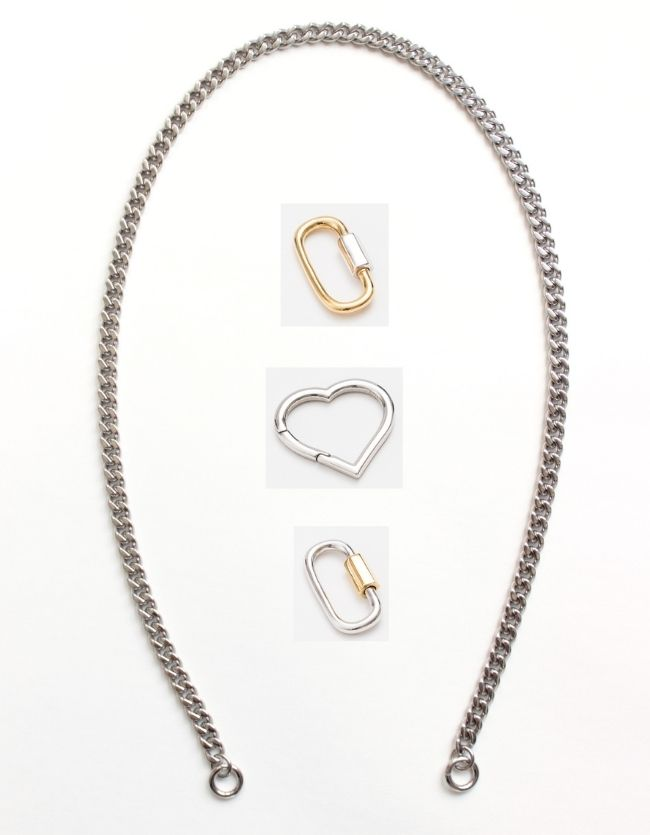 Curb Silver Chain Long/Short - combo clasp