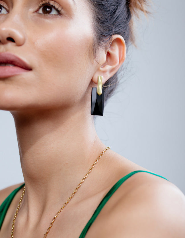 Black Onyx Gold Long Earrings | Exotic Gemstone Jewellery | Cathy Pope
