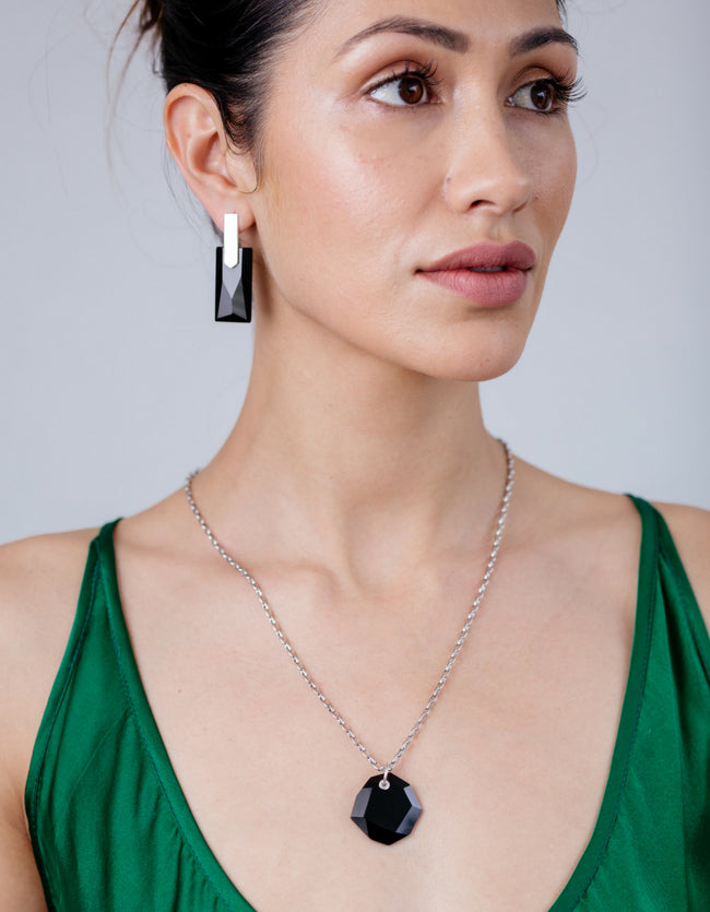 Onyx Silver Long Earrings