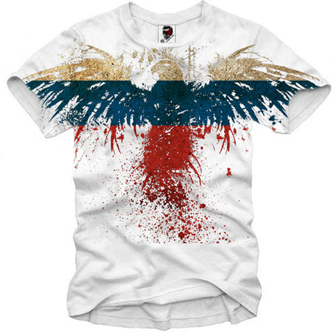 T-SHIRT EAGLE RUSSIA FLAG NEW S-XL