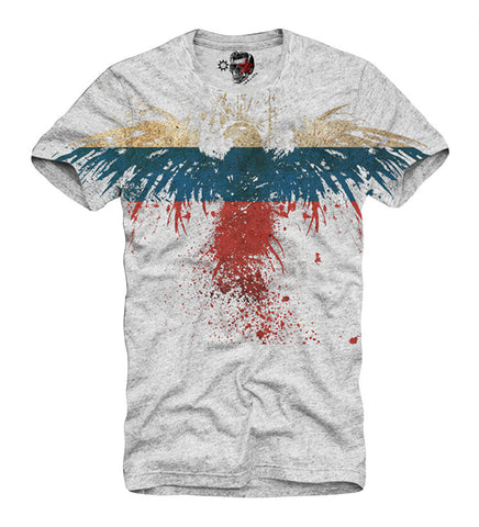 T-SHIRT EAGLE RUSSIA FLAG NEW GREY  S-XL