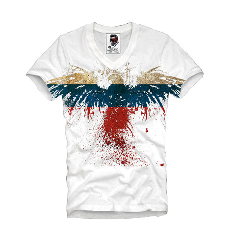 V-NECK T-SHIRT EAGLE RUSSIA FLAG NEW S-XL