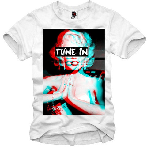T-SHIRT MARILYN MONROE TUNE IN DROP OUT LSD MDMA TRIP BLOTTER S-XL