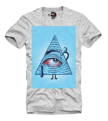 T-SHIRT All Seeing Eye Illuminati NWO Hipster Triangle Disobey GREY S-XL