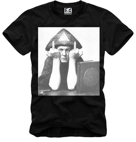 T-SHIRT ALEISTER CROWLEY MIDDLE FINGER F...K YOU Equinox Magick OKKULT 666 BLACK S-XL