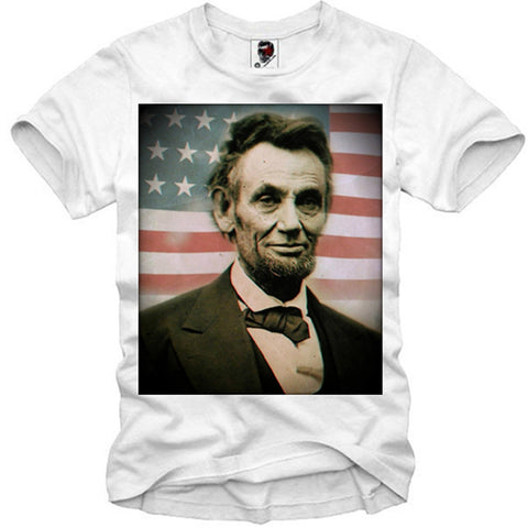 T-SHIRT ABRAHAM LINCOLN USA FLAG AMERICA PRESIDENT  S-XL