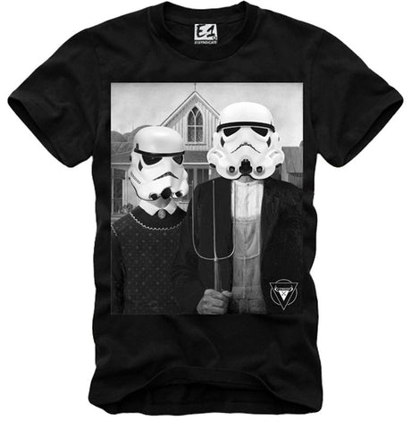 T-SHIRT AMERICAN GOTHIC TROOPER WOOKIE YODA STAR WARS DJ SUPREME BK S-XL