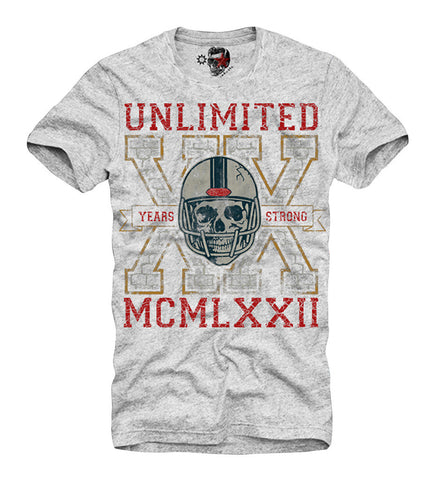 T-SHIRT AMERICAN FOOTBALL SKULL RUGBY HELMET BASEBALL S/M/L/XL GREY
