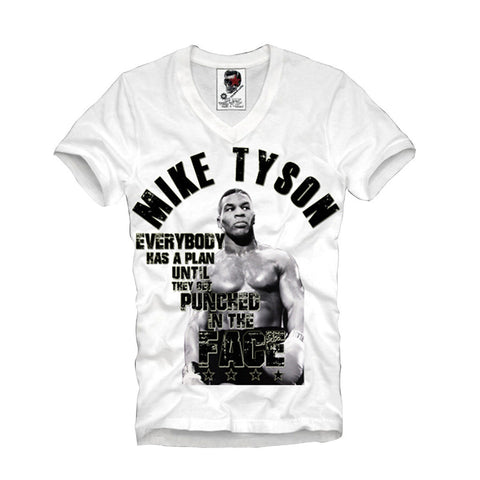 V-NECK T-SHIRT MIKE TYSON EVERYBODY HAS A PLAN HBA PYREX HOLYFIELD S/M/L/XL