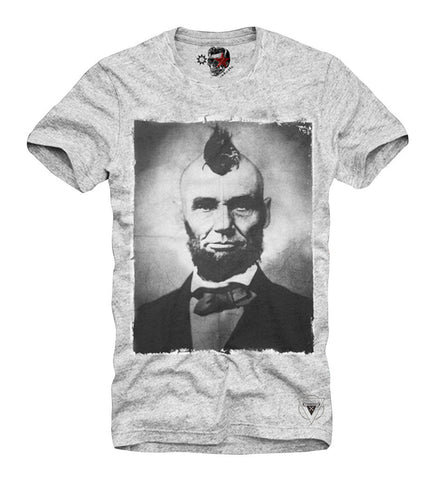 T-SHIRT ABRAHAM LINCOLN HIPSTER PRESIDENT DISOBEY CALI PUNK GREY S/M/L/XL