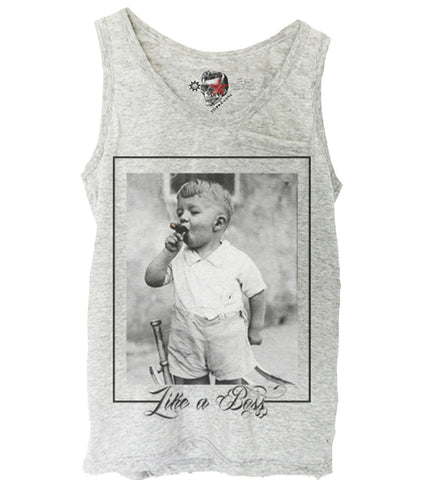 GREY TANK TOP SHIRT LIKE A BOSS OBEY WASTED YOUTH DISOBEY S-XL