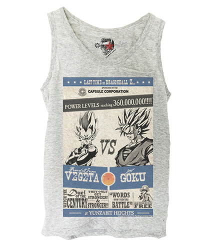 GREY TANK TOP SHIRT TRAINING SON GOKU VS. VEGETA FIGHT DRAGONBALL GYM S-XL