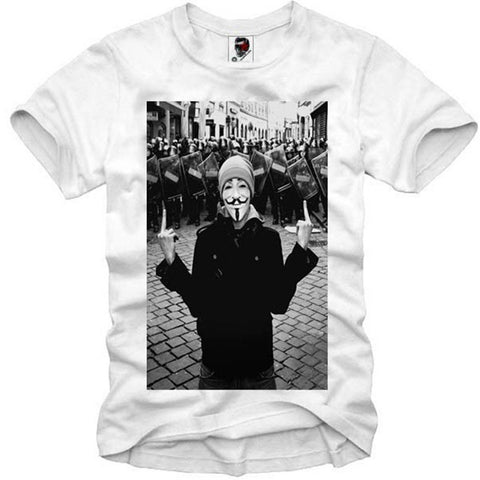 T-SHIRT ANONYMOUS OCCUPY GUY FAWKES VENDETTA FINGER FLIP S-XL