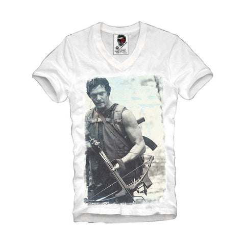 V-NECK T-SHIRT THE WALKING DEAD ZOMBIE DARYL DIXON MONSTER TV S-XL