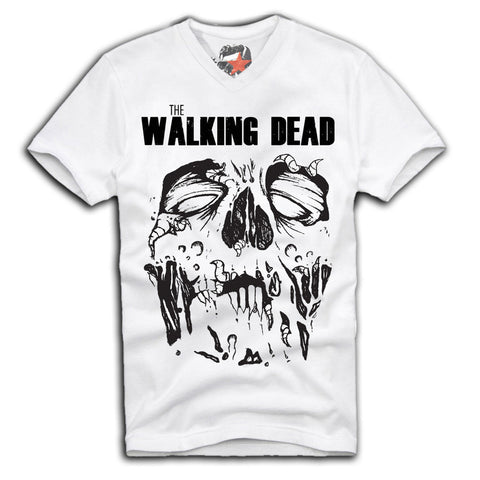 E1SYNDICATE V-NECK T-SHIRT THE WALKING DEAD RICK GRIMES DARYL DIXON BREAKING Sz. S-XL