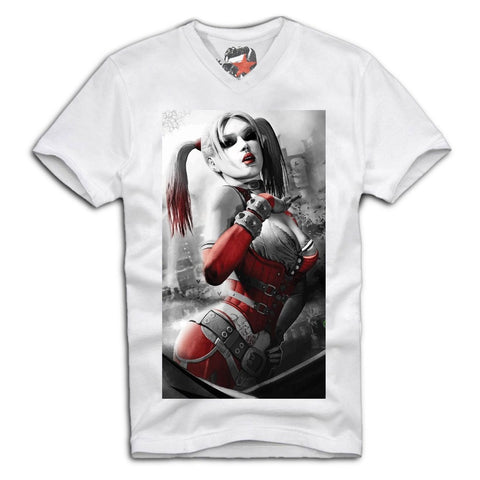 E1SYNDICATE VNECK T-SHIRT SEXY HARLEY QUINN JOKER PIN UP GIRL MOVIE SCARFACE  Sz. S-XL