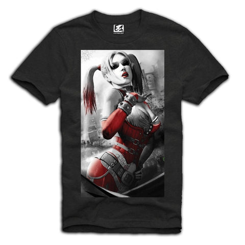 E1SYNDICATE T-SHIRT SEXY HARLEY QUINN JOKER PIN UP GIRL MOVIE SCARFACE  DARK GREY Sz. S-XL