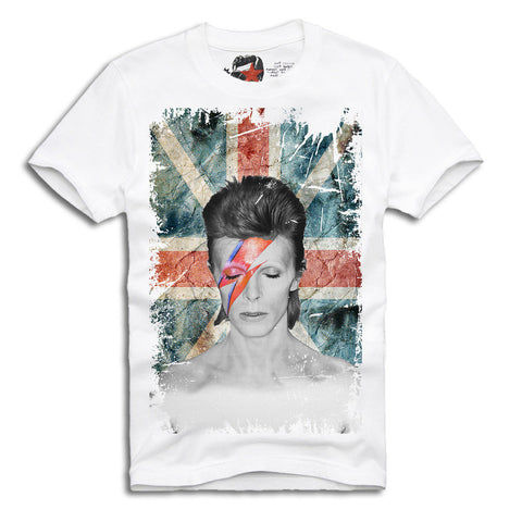 T-SHIRT DAVID BOWIE ZIGGY STARDUST ROCK ELEVEN LONDON UK FLAG