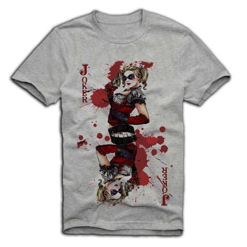 E1SYNDICATE T-SHIRT SEXY HARLEY QUINN JOKER PIN UP GIRL MOVIE SCARFACE GREY Sz. S-XL