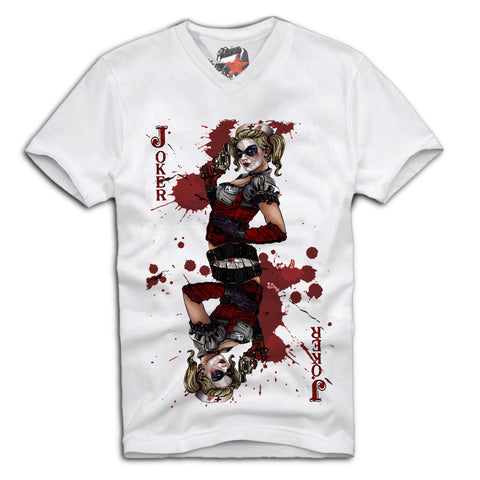 E1SYNDICATE V-NECK T-SHIRT SEXY HARLEY QUINN JOKER PIN UP GIRL MOVIE SCARFACE Sz. S-XL