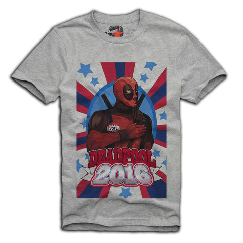 E1SYNDICATE T-SHIRT VOTE FOR DEADPOOL JOKER AMERICA USA SUPER HEROES Sz. S-XL GREY