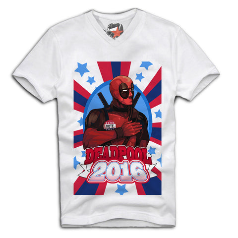 E1SYNDICATE V-NECK T-SHIRT VOTE FOR DEADPOOL JOKER AMERICA USA SUPER HEROES Sz. S-XL