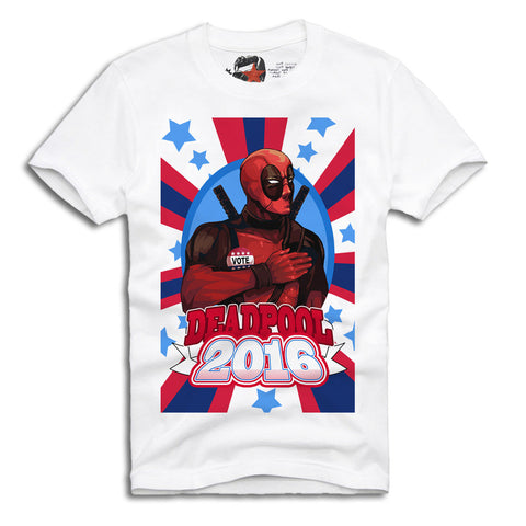 E1SYNDICATE T-SHIRT VOTE FOR DEADPOOL JOKER AMERICA USA SUPER HEROES QUINN Sz. S-XL