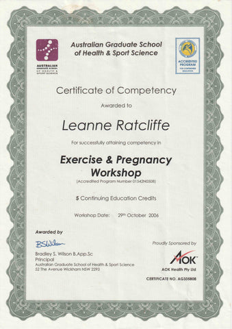 leanne ratcliffe freelee certificate pregnancy AGS