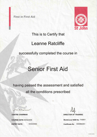 leanne ratcliffe freelee certificate first aid