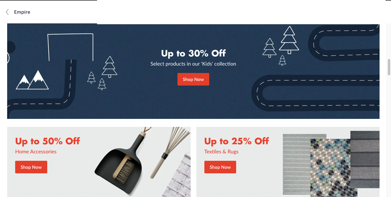 Shopify Empire theme - Building your empire with a robust, memorable storefront