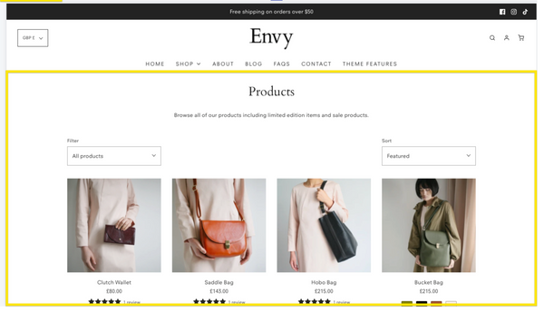 Shopify Envy theme: A complete style ideal for regular promotions and featured products for luxury Niches