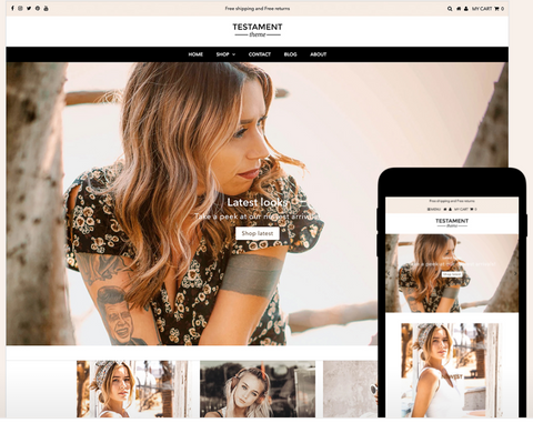Testament Shopify Theme : Supreme theme for stores seeking a high-end look