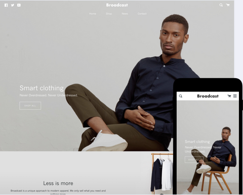 Broadcast Shopify theme - Created to build your audience and sell with delicacy